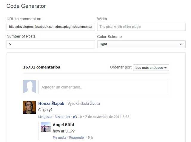 comentarios Facebook, generador códigos