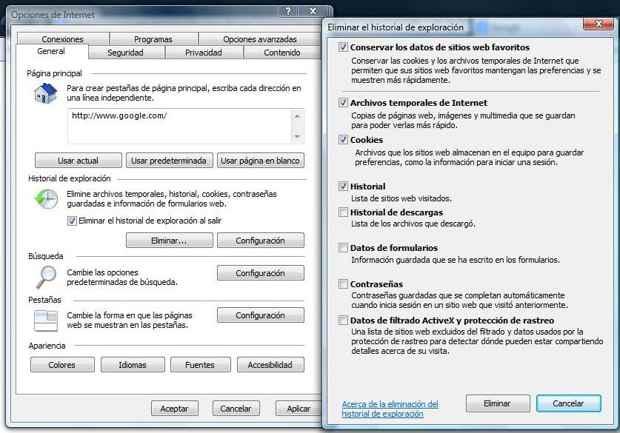 Cookies e historial Internet Explorer