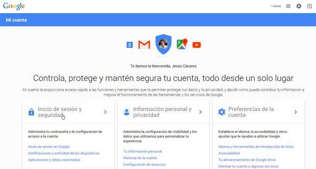 cuentas de Google, Inicio de sesión y seguridad