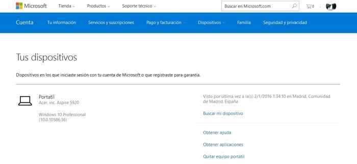 dispositivos en la cuenta de Microsoft