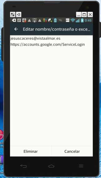 eliminar contraseñas en Chrome para Android