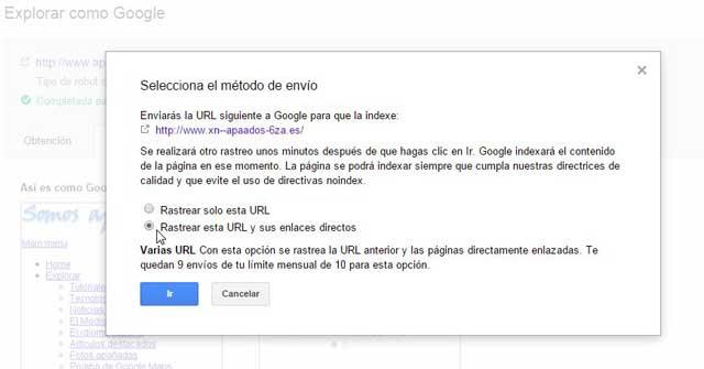 enviar al índice de Google