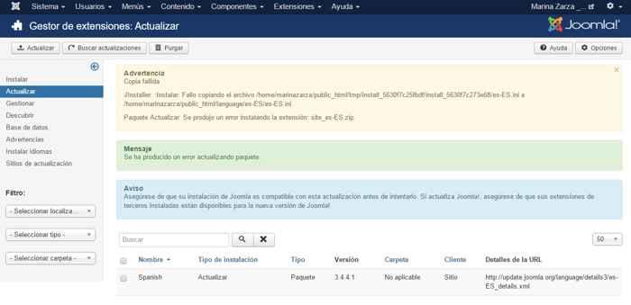 error de instalación del paquete de idioma Joomla español