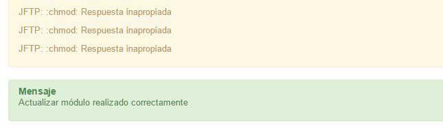 error en Joomla update jftp inapropiada