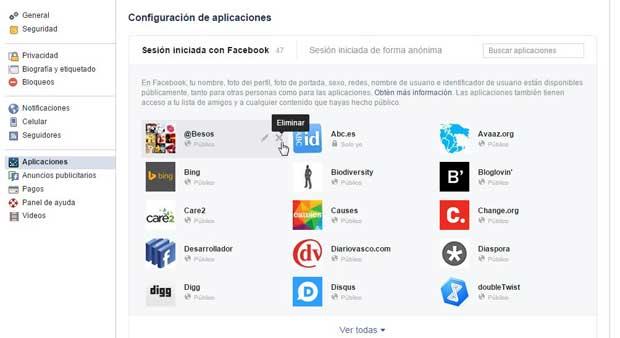 Facebook eliminar aplicaciones