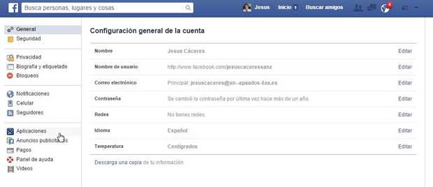Facebook aplicaciones