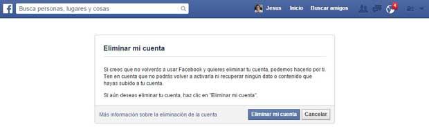 eliminar cuenta de Facebook