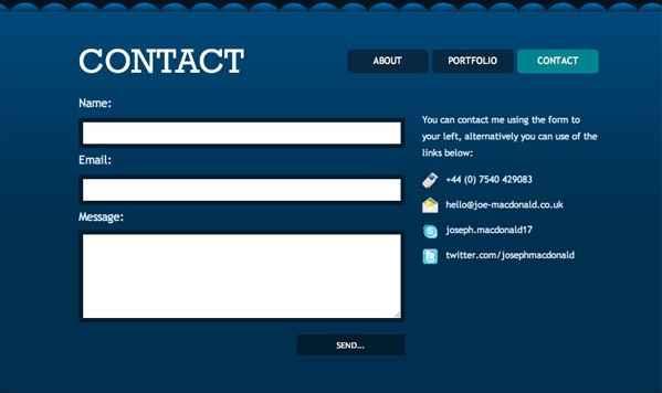 formulario de contacto de una página web