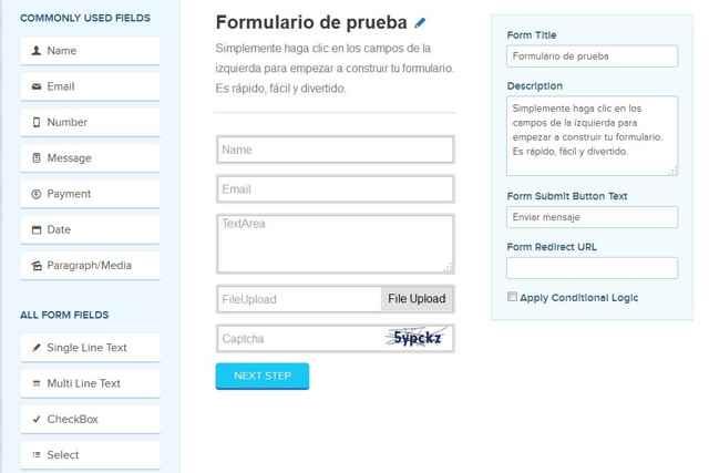 formulario de prueba en FormGet