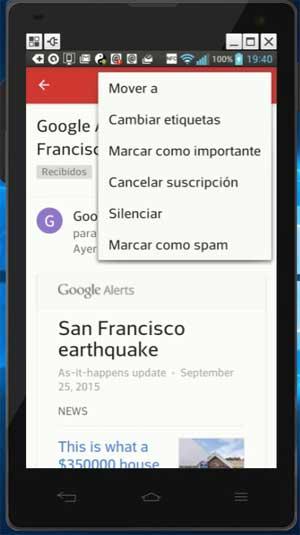 Funciones de Gmail en Android