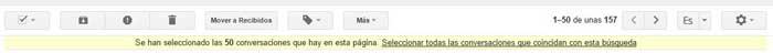 Gmail seleccionar todas las búsquedas