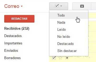 Gmail seleccionar todas las conversaciones