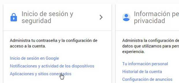 Google aplicaciones y sitios conectados