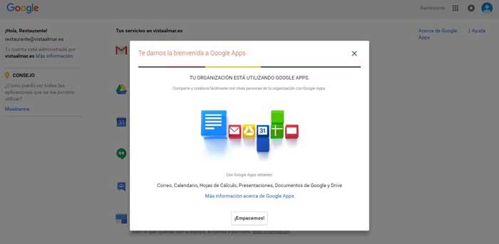 Google APPS bienvenida