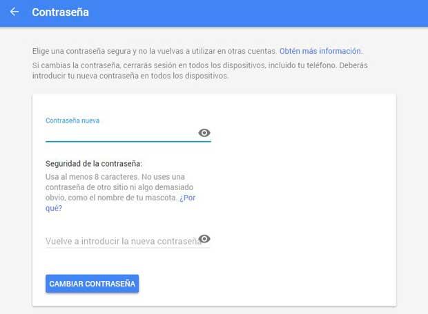 Google cambio de contraseña