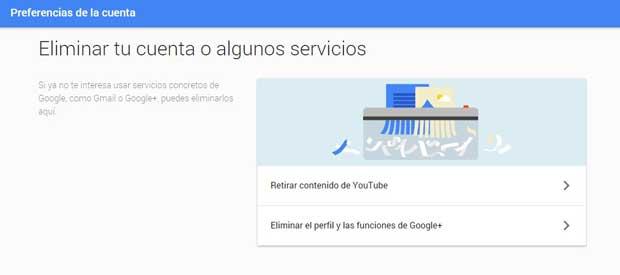 Eliminar el perfil y las funciones de Google +
