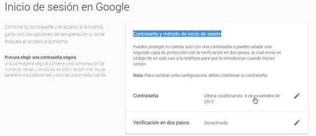Google, Contraseña y método de inicio de sesión