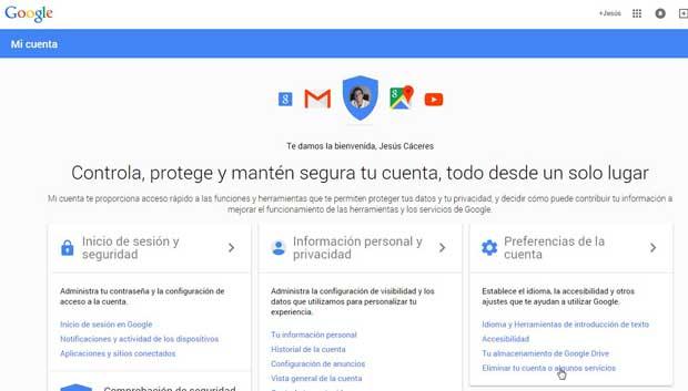 Google, preferencias de la cuenta