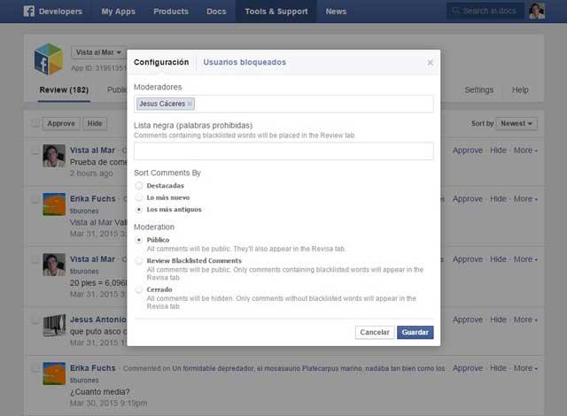 configuración de la herramienta de moderación de comentarios de Facebook