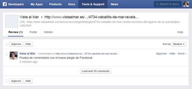 herramienta de moderación de comentarios de Facebook