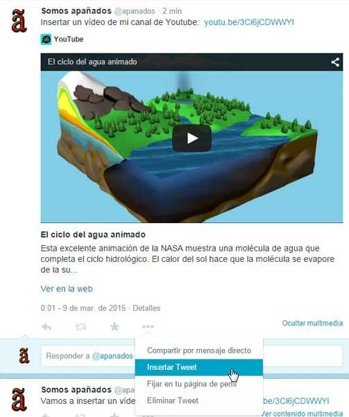 incrustar un vídeo de Twitter en tu sitio web
