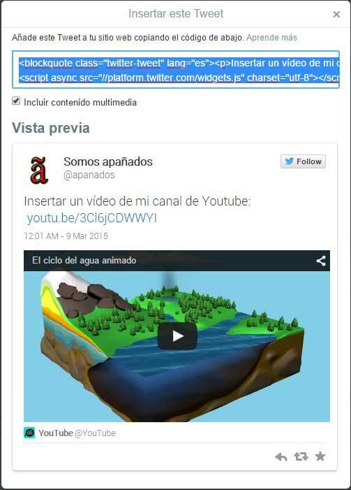 incrustar un vídeo de Twitter en tu sitio web, copìar código