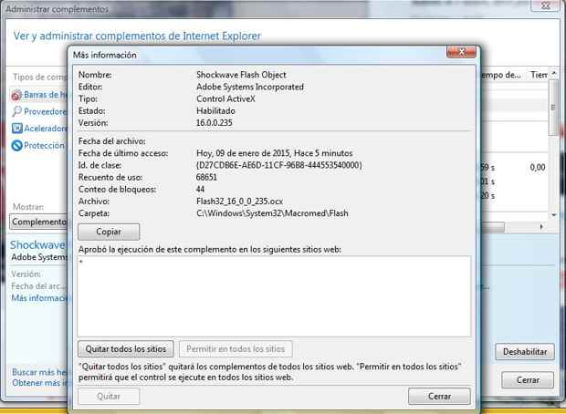 Quitar Flash Player en Internet Explorer