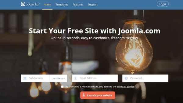Joomla.com creación de sitio web gratis