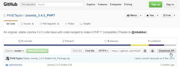 descargar Joomla! 3.4.5 con PHP 7 en Github