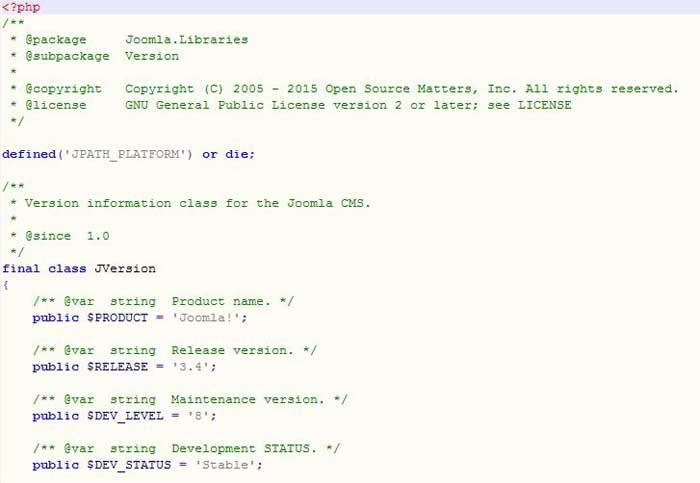 modificar versión de Joomla