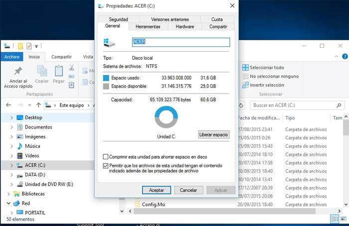 liberar espacio en el disco duro en Windows 10