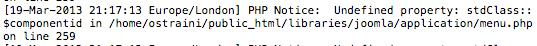 logs del servidor, errores en el núcleo de Joomla
