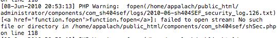 logs del servidor