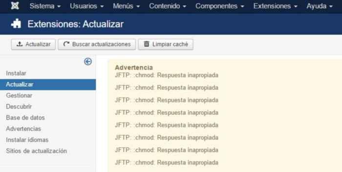 JFTP: :chmod: Respuesta inapropiada