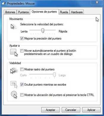 comportamiento del mouse en Windows 7, opciones de puntero