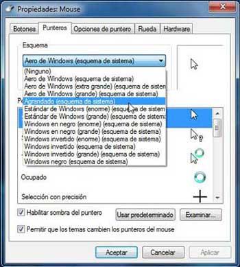 comportamiento del mouse en Windows 7, punteros