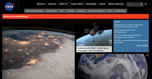 nuevo web site de la NASA