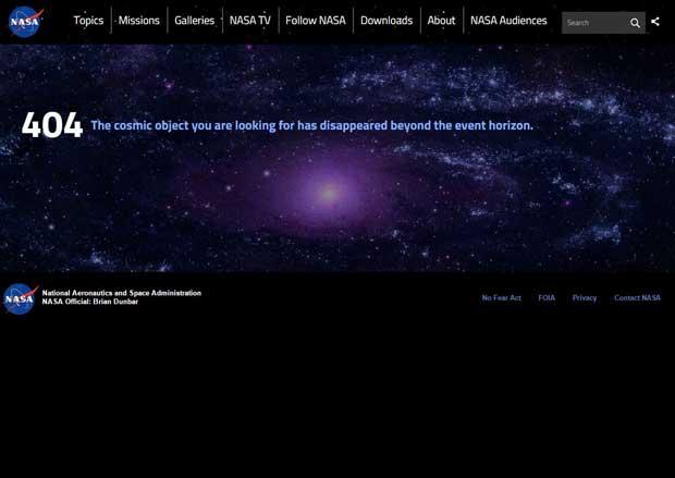 página de error 404 del nuevo web site de la NASA