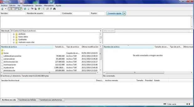 pantalla principal de Filezilla
