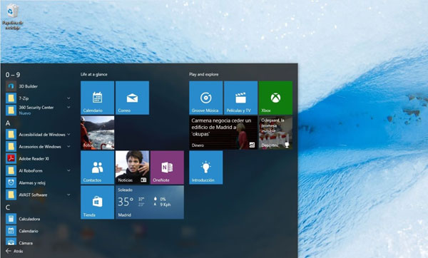 pantalla de Windows 10