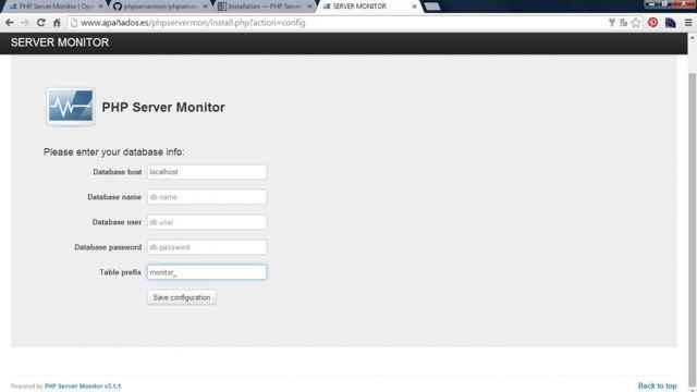 PHP Server Monitor, base de datos