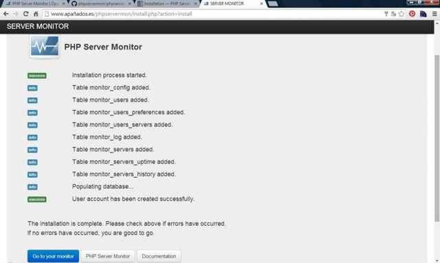 PHP Server Monitor, instalación completada