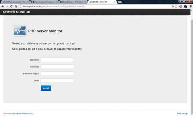 PHP Server Monitor, login con nueva cuenta