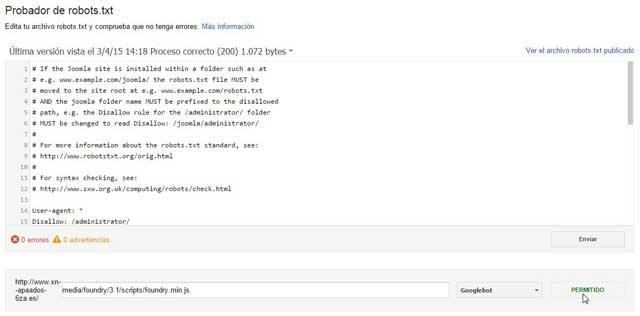 probador de robots.txt, recurso permitido