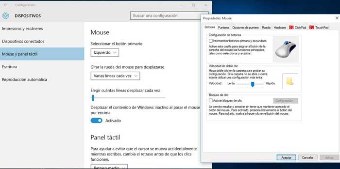 ratón en Windows 10