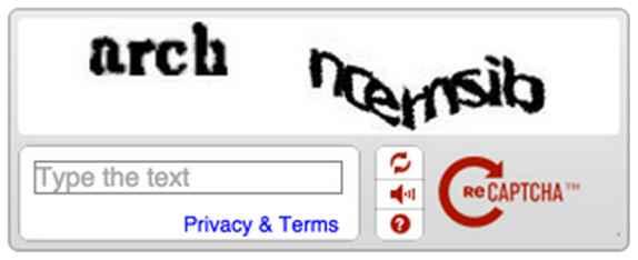 reCAPTCHA antiguo