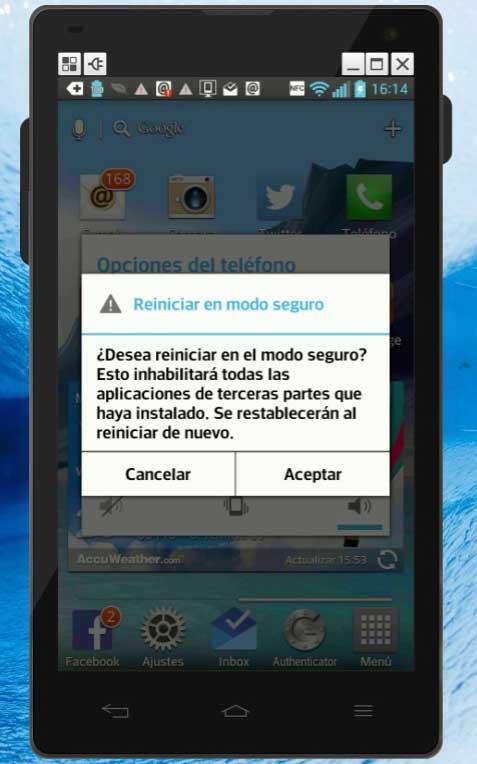reiniciar el teléfono Android en modo seguro