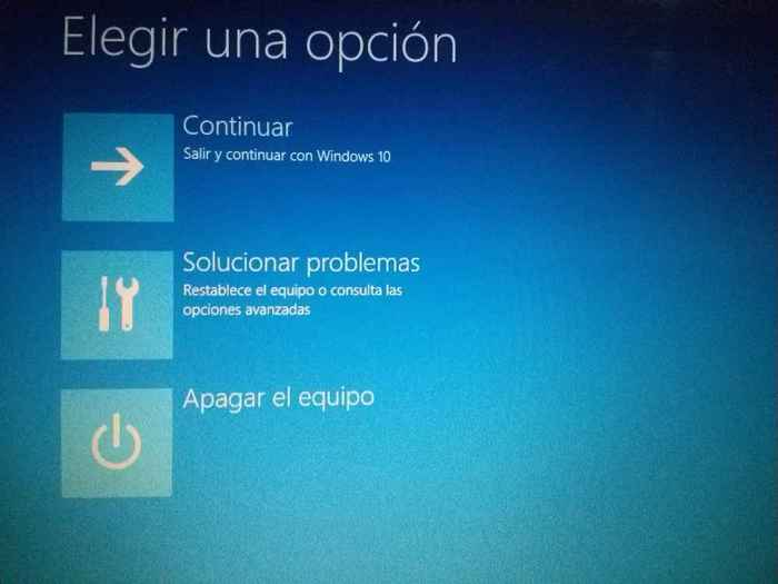 reinicio de Windows 10, elegir una opción