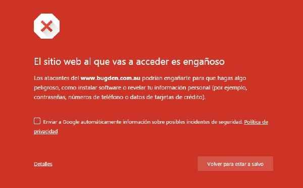 sitio web engañoso