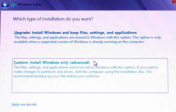 tipo de instalación de Windows